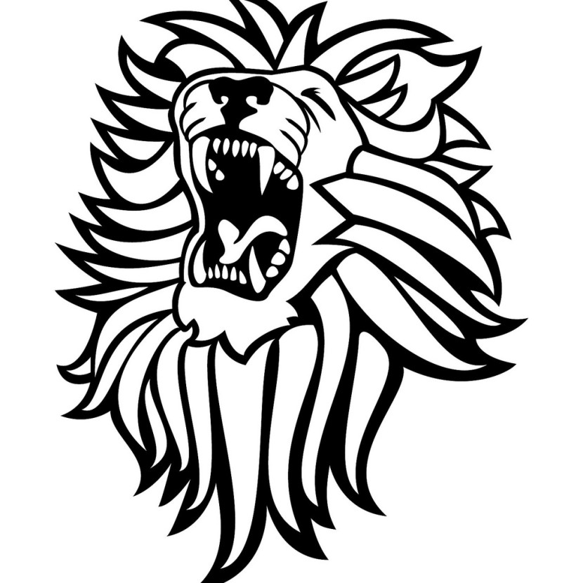 lion head black and white clipart #13