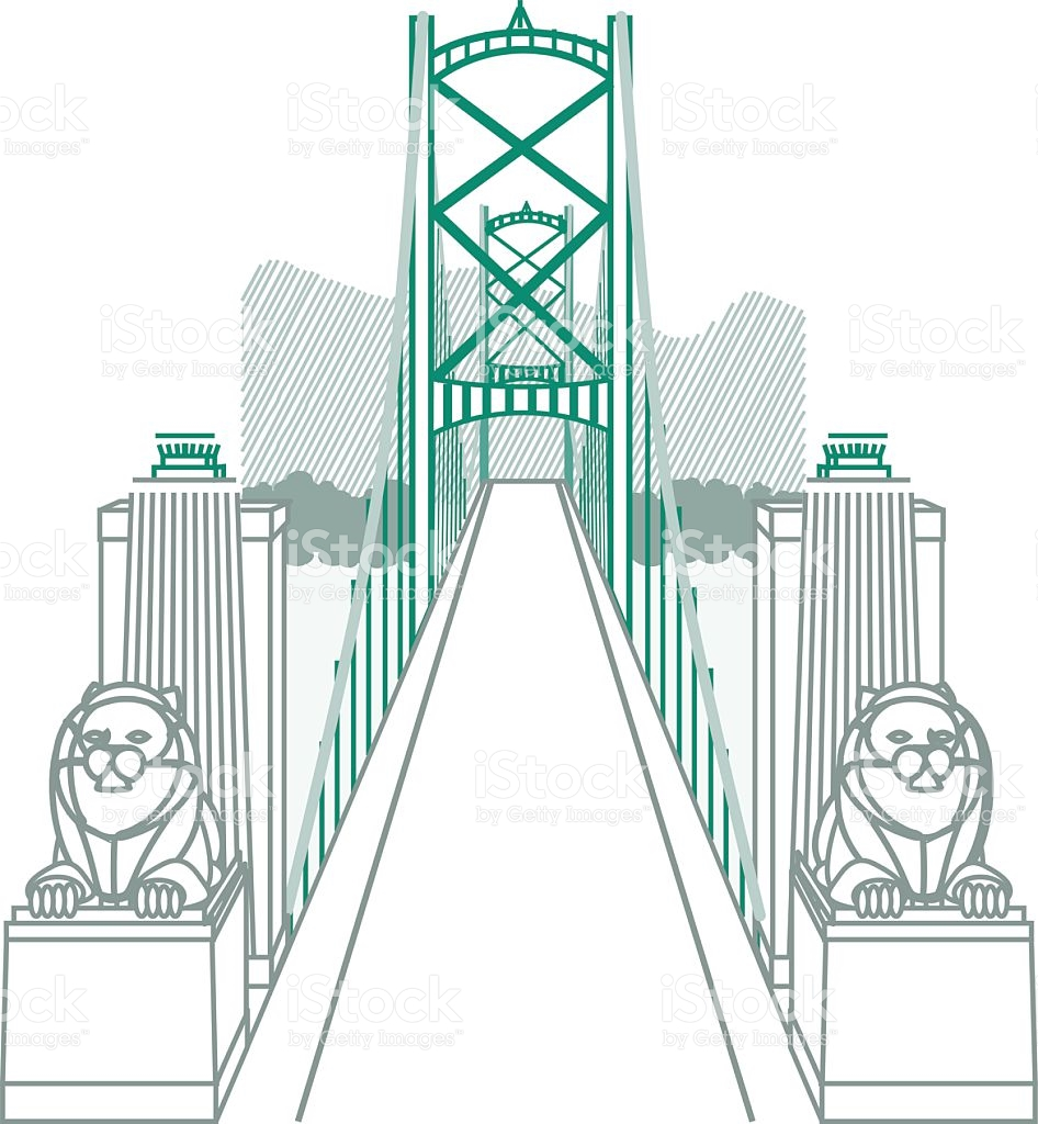 Lions Gate Bridge Vancouver stock vector art 486769762.