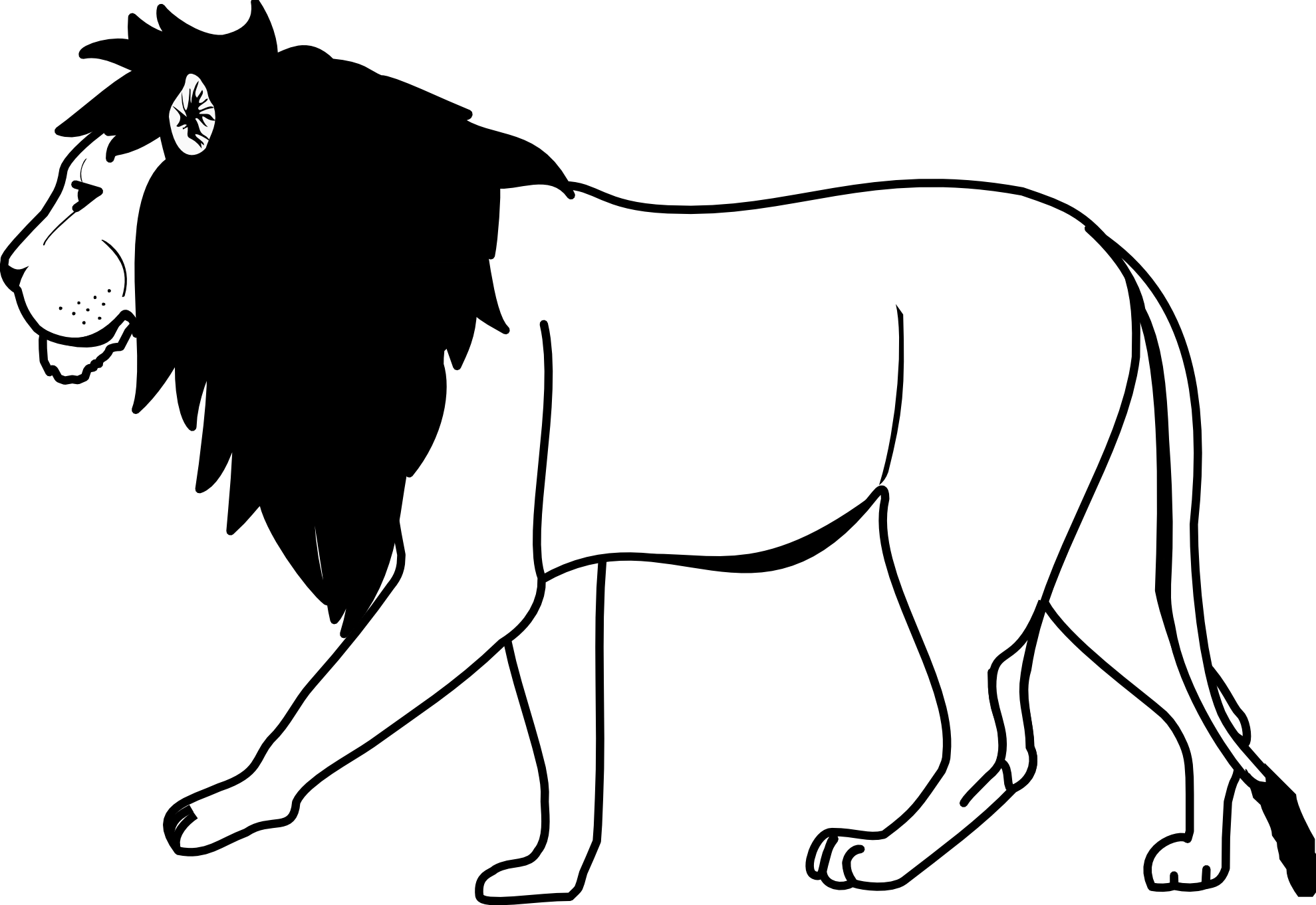 Lion Clip Art Black And White.