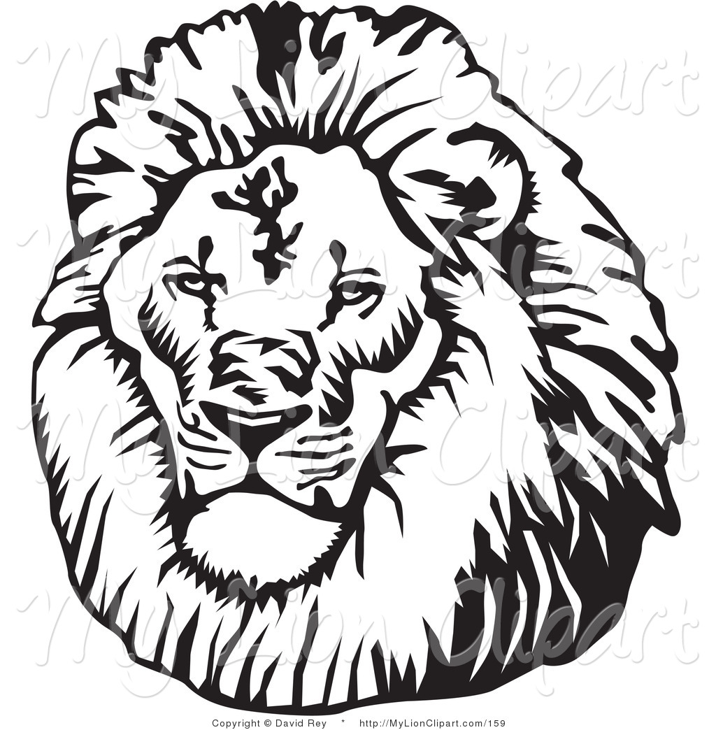 lion head black and white clipart #18
