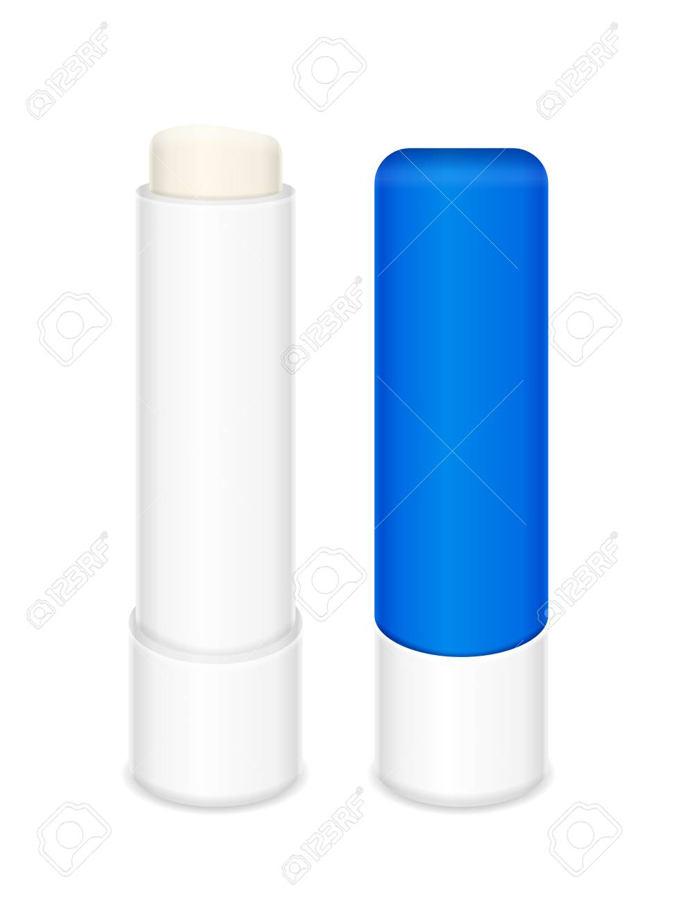 Lip balm stick on a white background. Vector illustration..