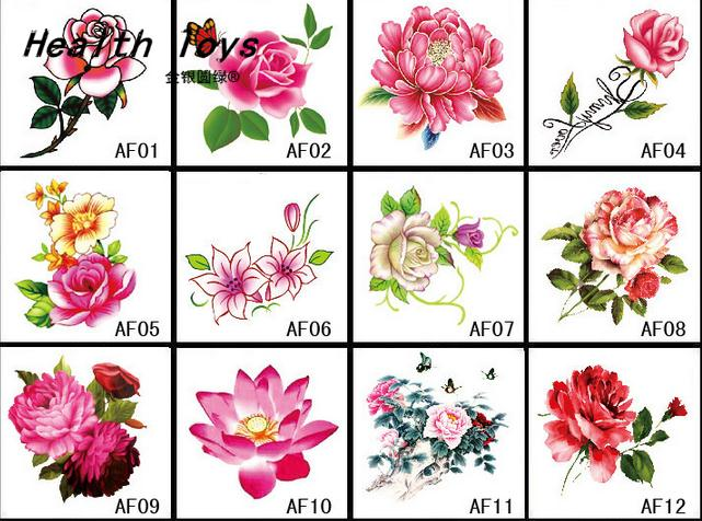 25 Style to choice 3D Colorful Flowers Rose Waterproof Body Lip.
