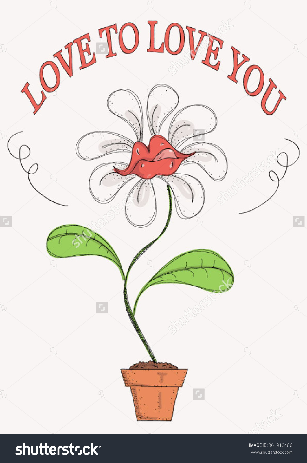 Funny, Colorful Illustration With Potted Flower Shaped As Lips.