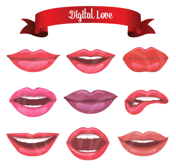 Different types of Luscious Red Lips Clip Art Set Mustache.