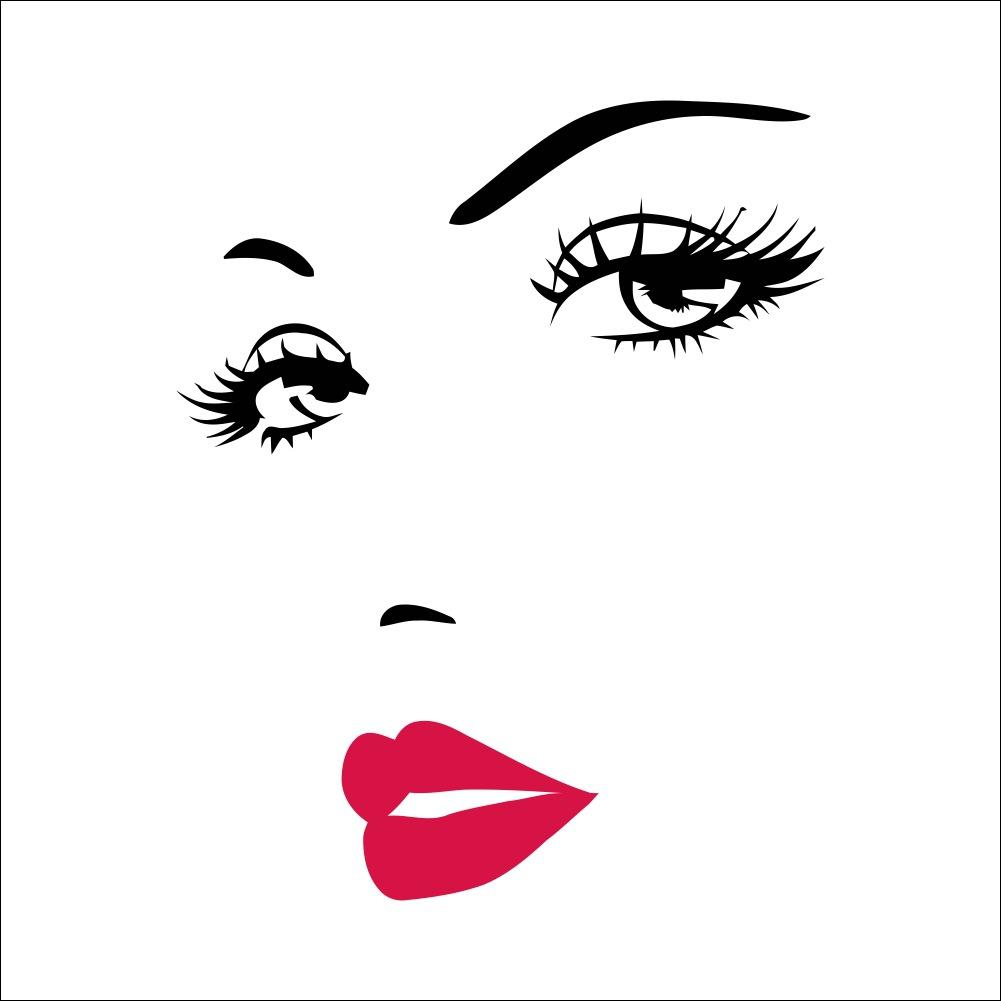 DIY Girls Eyelashes Eye Wall Decal and Red Lips Wall Sticker for Beauty  Salon and Make Up Wall Decor.