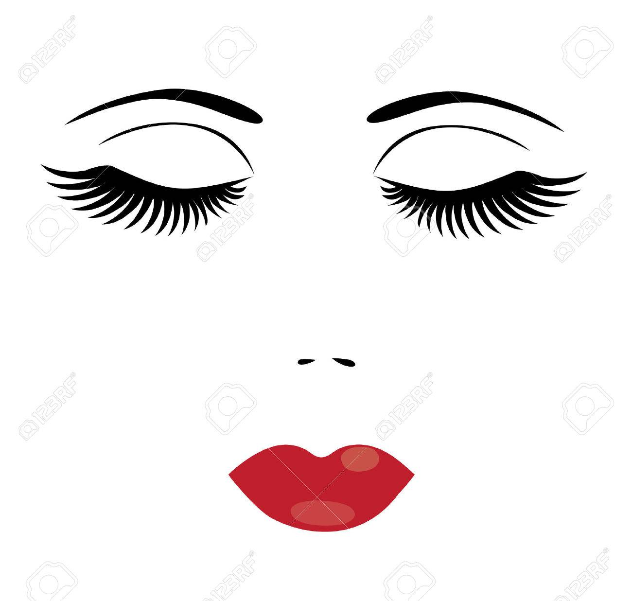 illustration of a face of a woman with long lashes and red lips.