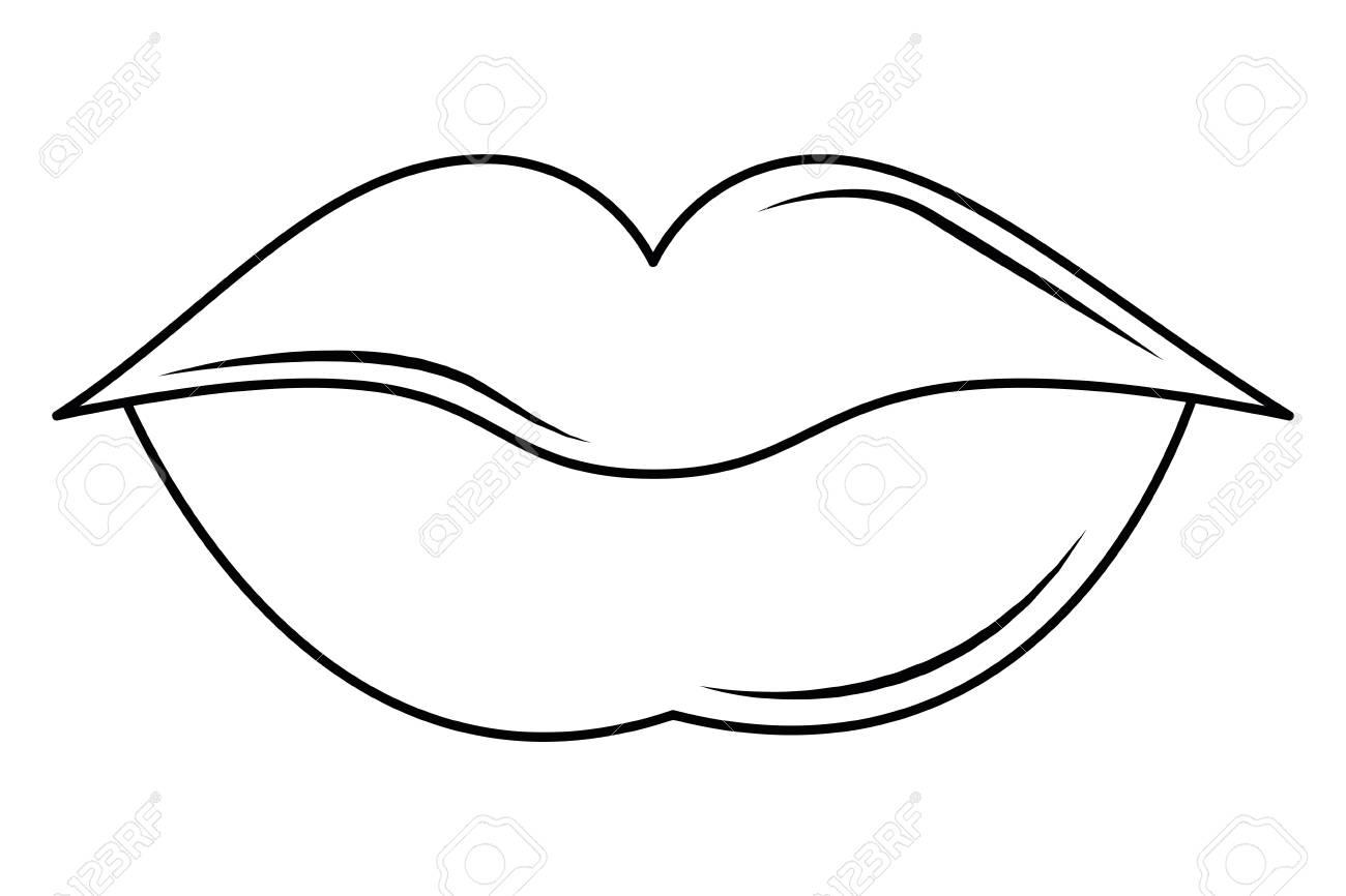 Women lips cartoon black and white vector illustration graphic...