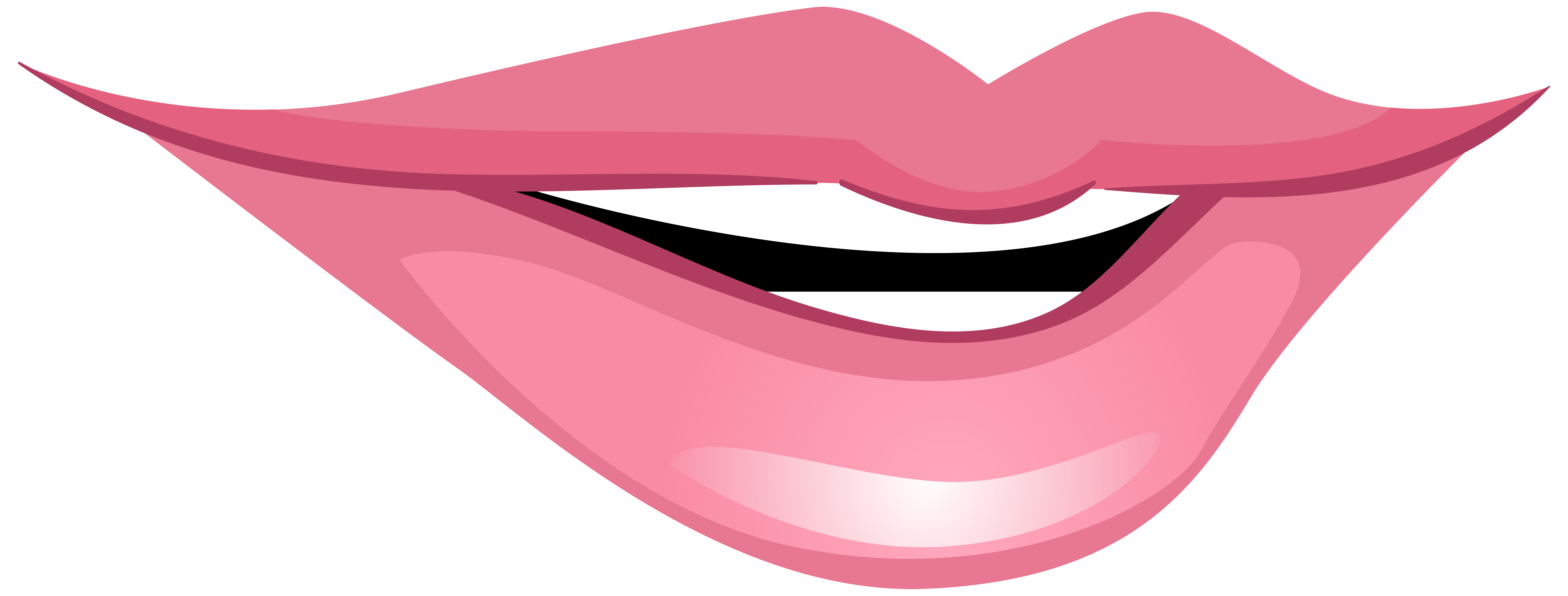 Pink Smiling Mouth PNG Clip Art.