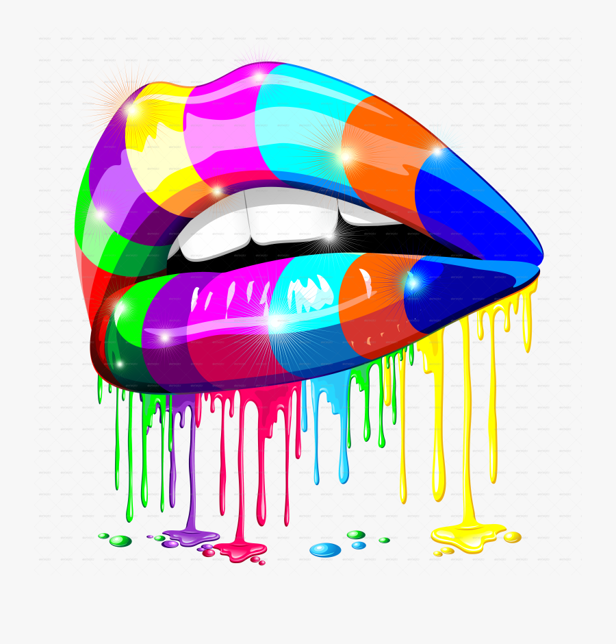 Sensual Lips Psychedelic Glowing.