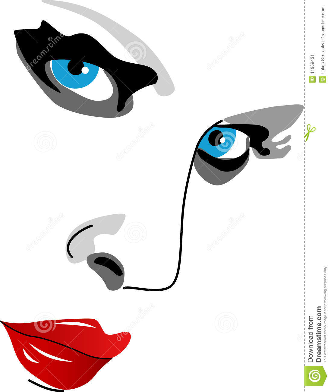 Face Of Woman, Eyes, Nose And Lips Stock Image.