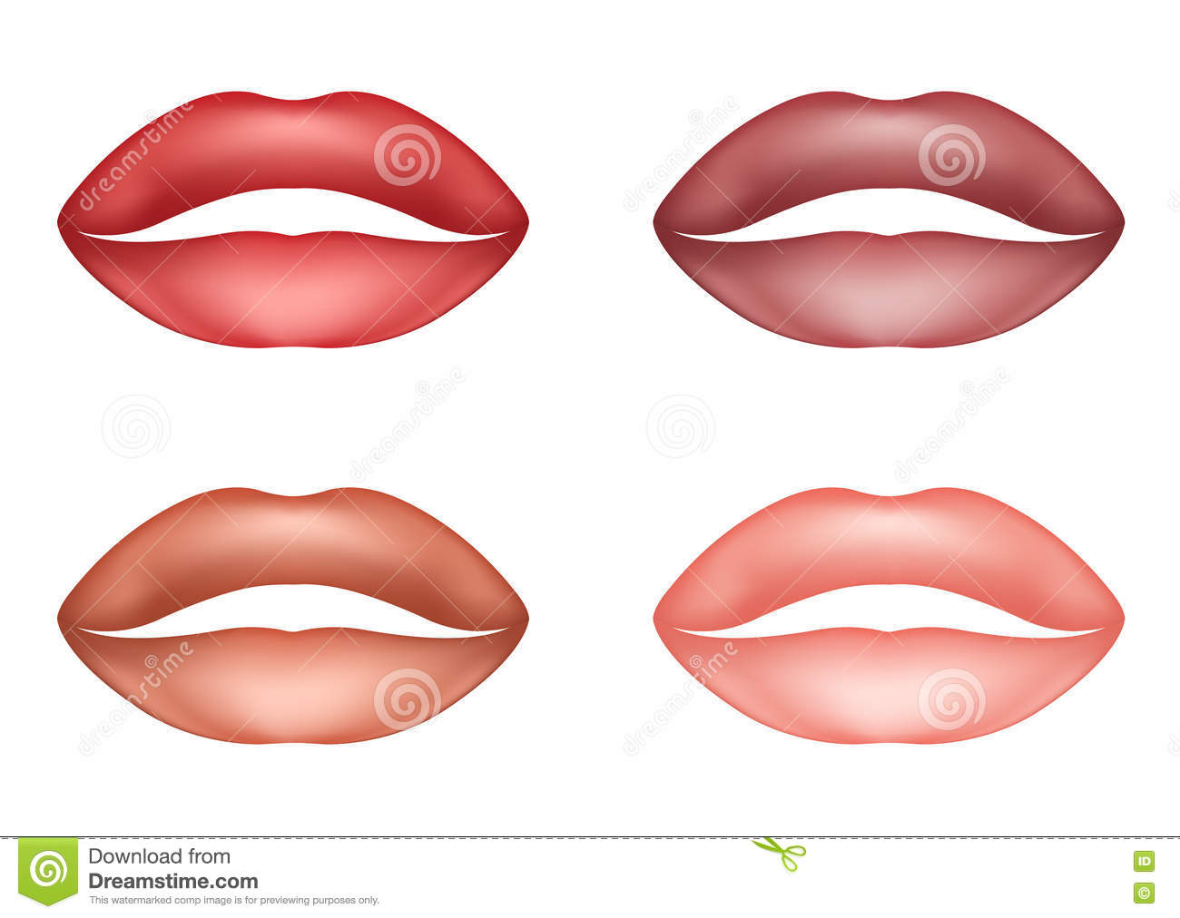 Set Sexy Soft Pink Lips Sensual Female Lips Stock Vector.