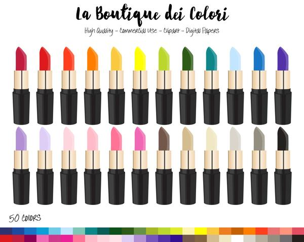 Lipstick Planner Clipart, cute digital graphics provided in PNG.