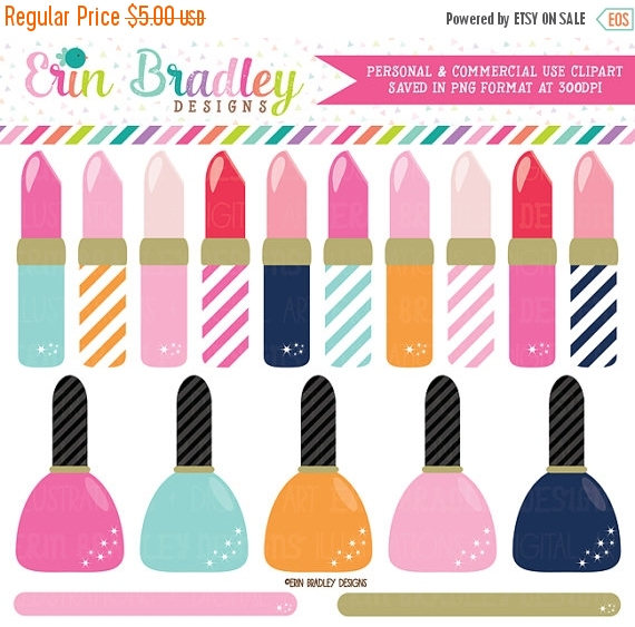 70% OFF SALE Lipstick and Nail Polish Clipart Girls Graphics.