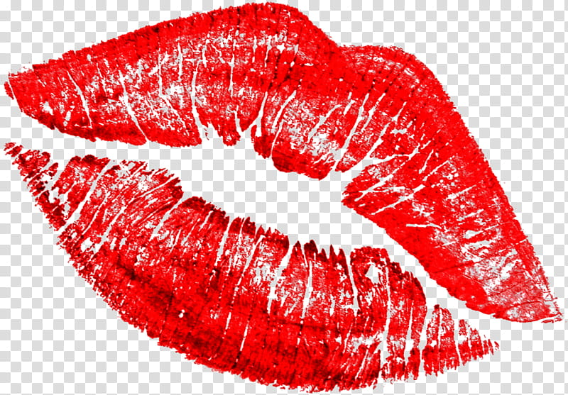 Red , red kiss mark transparent background PNG clipart.