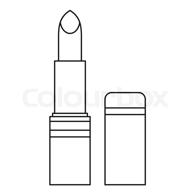 Lipstick icon. Outline illustration of.