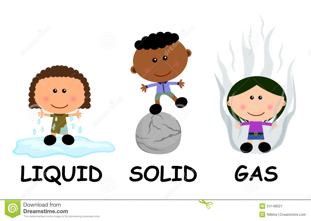 Solid Liquid Gas Stock Illustrations.