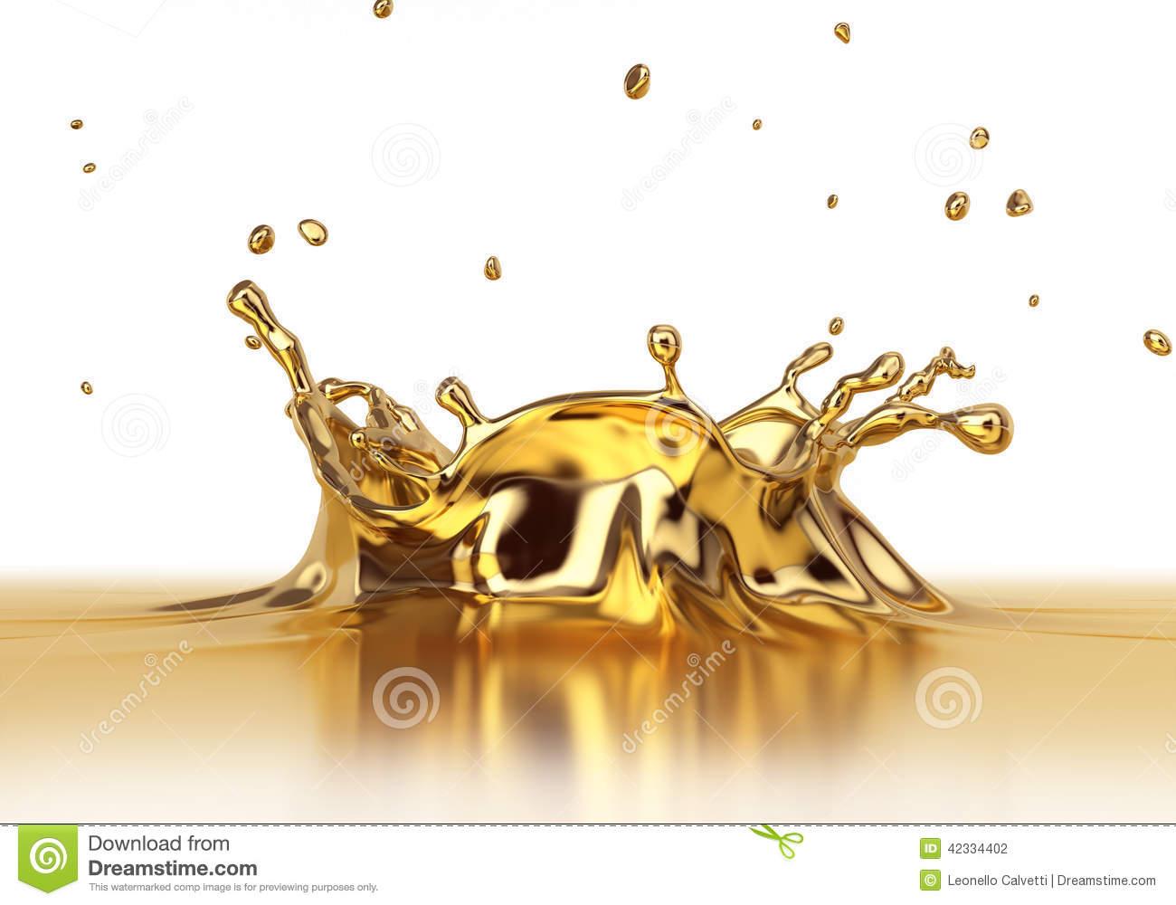 Liquid Gold Spash Close Up. Stock Photo.