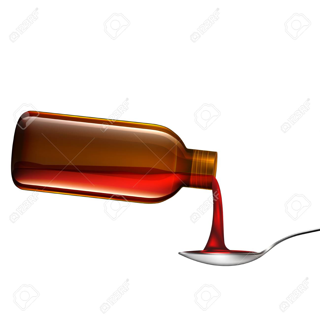 Bottle pouring medicine syrup in spoon.