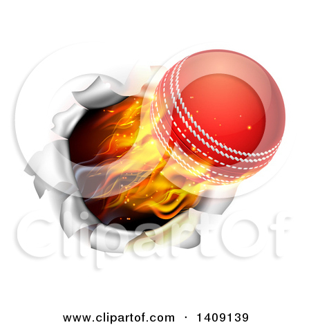 Clipart of a Cricket Ball Breaking Wicket Stumps on Black.