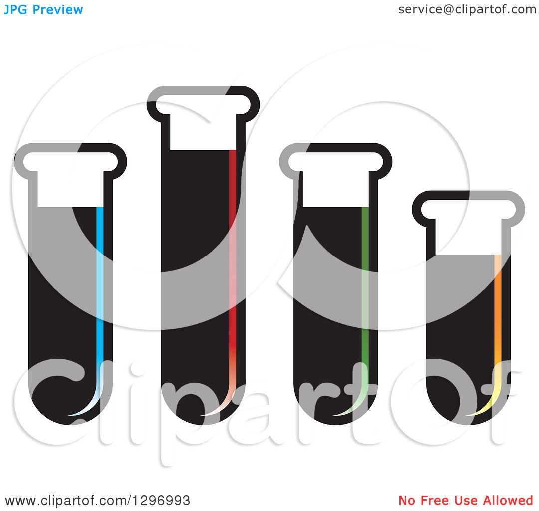 Clipart of Test Tubes of Colorful Liquids.