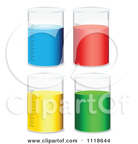 Vector Clipart Of Scientific Beakers With Blue Red Yellow And.