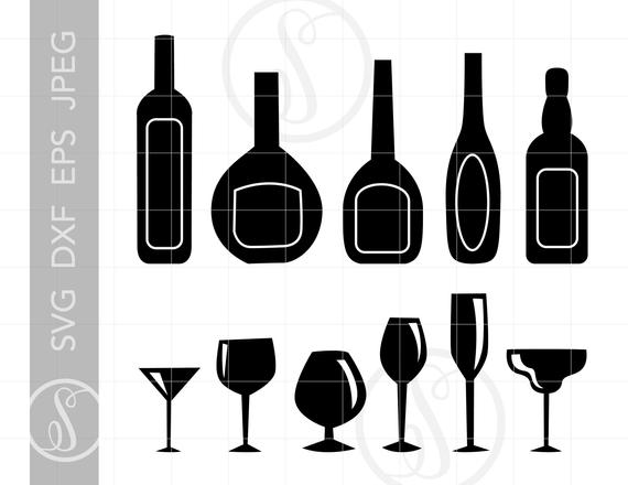 Bottles and Glasses Clip Art Svg Cut File Clipart Downloads.