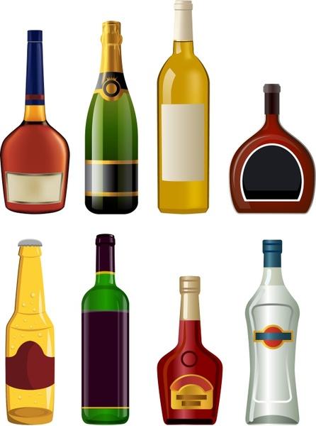Liquor bottles Free vector in Adobe Illustrator ai ( .AI.