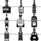 9 Liquor Bottle Top Selling Designs Whiskey Run Tequila BUNDLE ClipArt SVG.