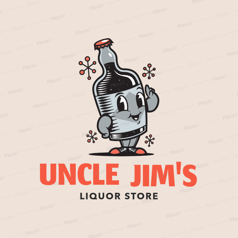 Liquor Store Logo Maker with a Funny Bottle Cartoon Character 1815a.