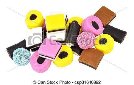 Stock Photographs of Liquorice Allsorts Candy.