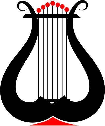 Vector clip art of lyre instrument.