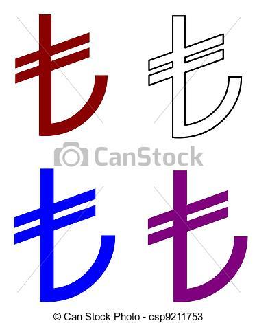 Drawings of symbol of the Turkish Lira csp9211753.