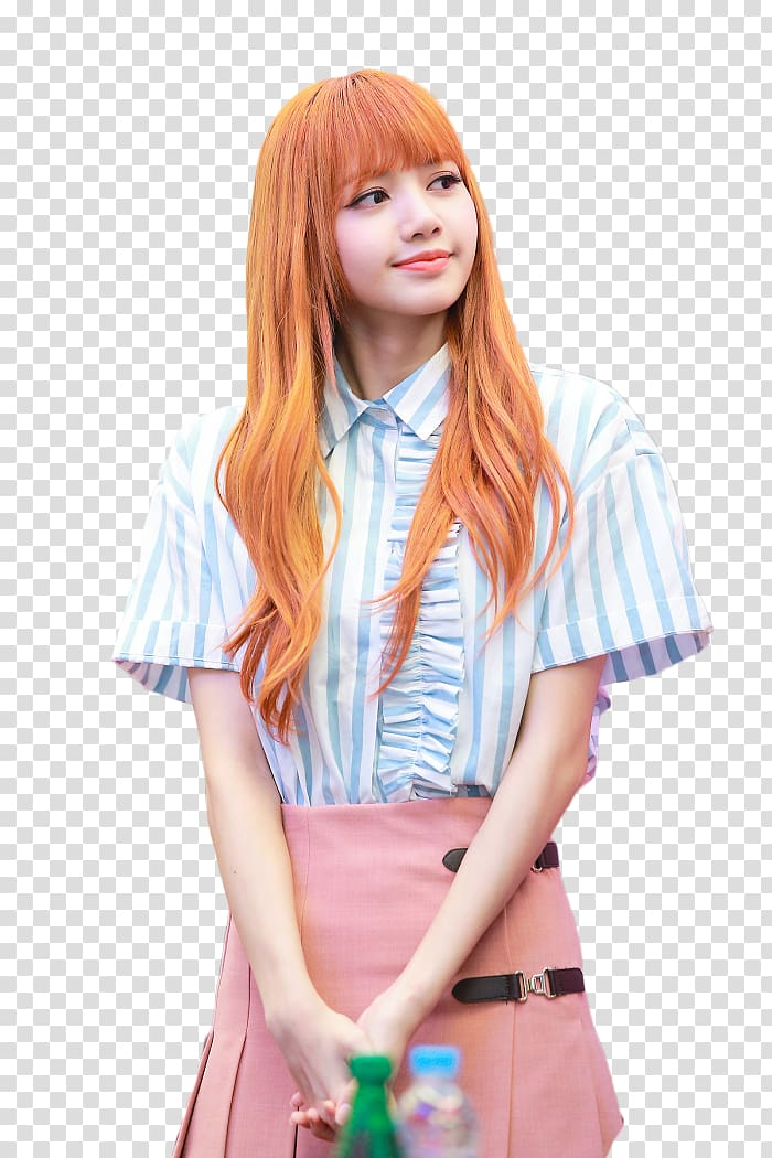 Woman in blue collared top and pink skirt, Lisa BLACKPINK.