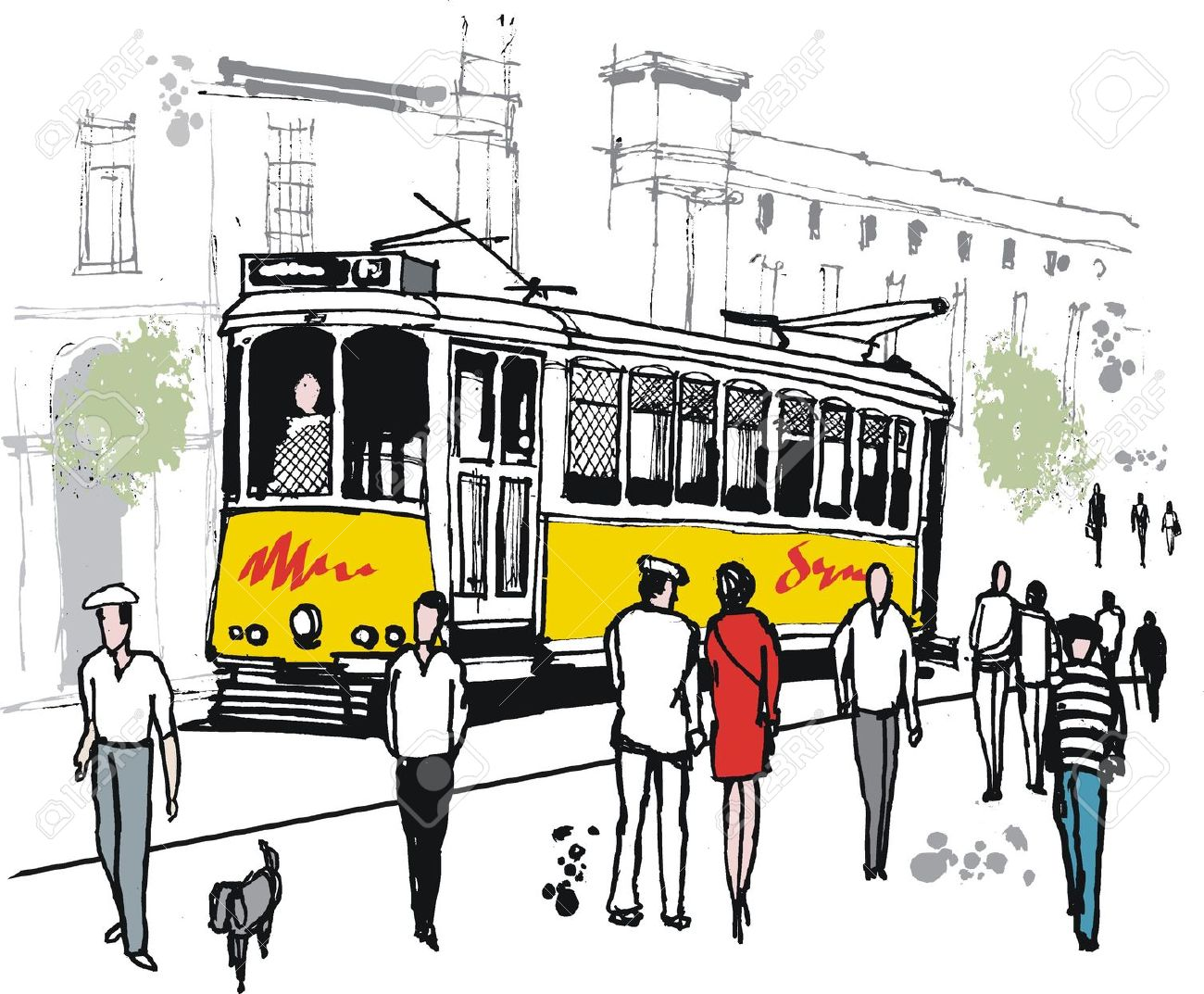 Drawing Of Old Tram In Lisbon, Portugal. Royalty Free Cliparts.