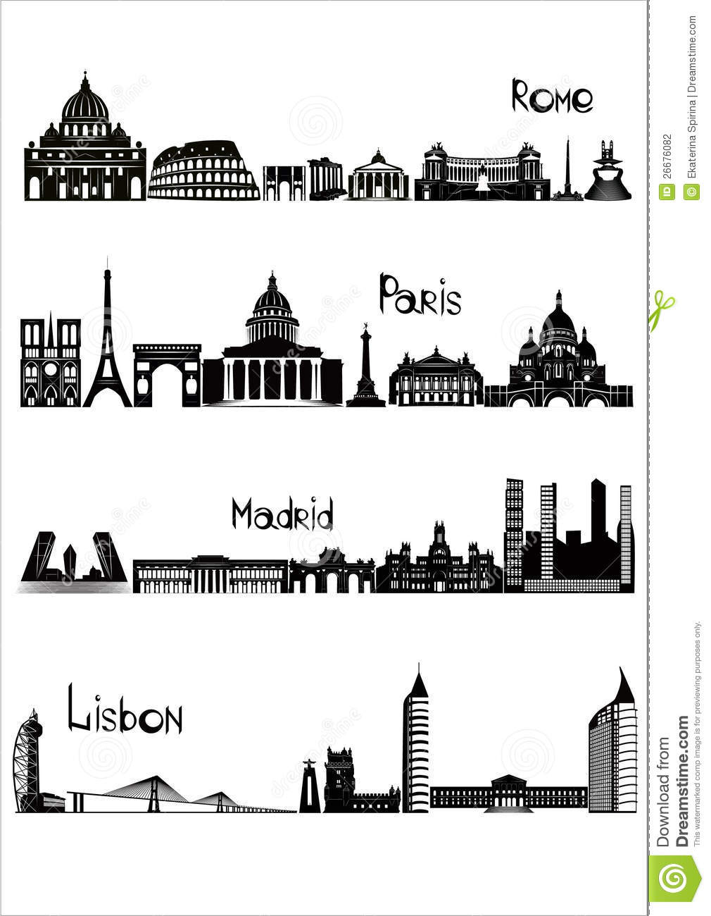Sights Of Rome, Paris, Madrid And Lisbon, B.