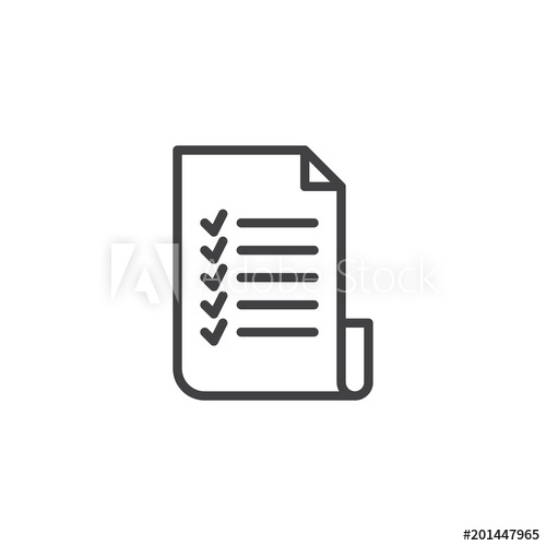 Checklist outline icon. linear style sign for mobile concept.