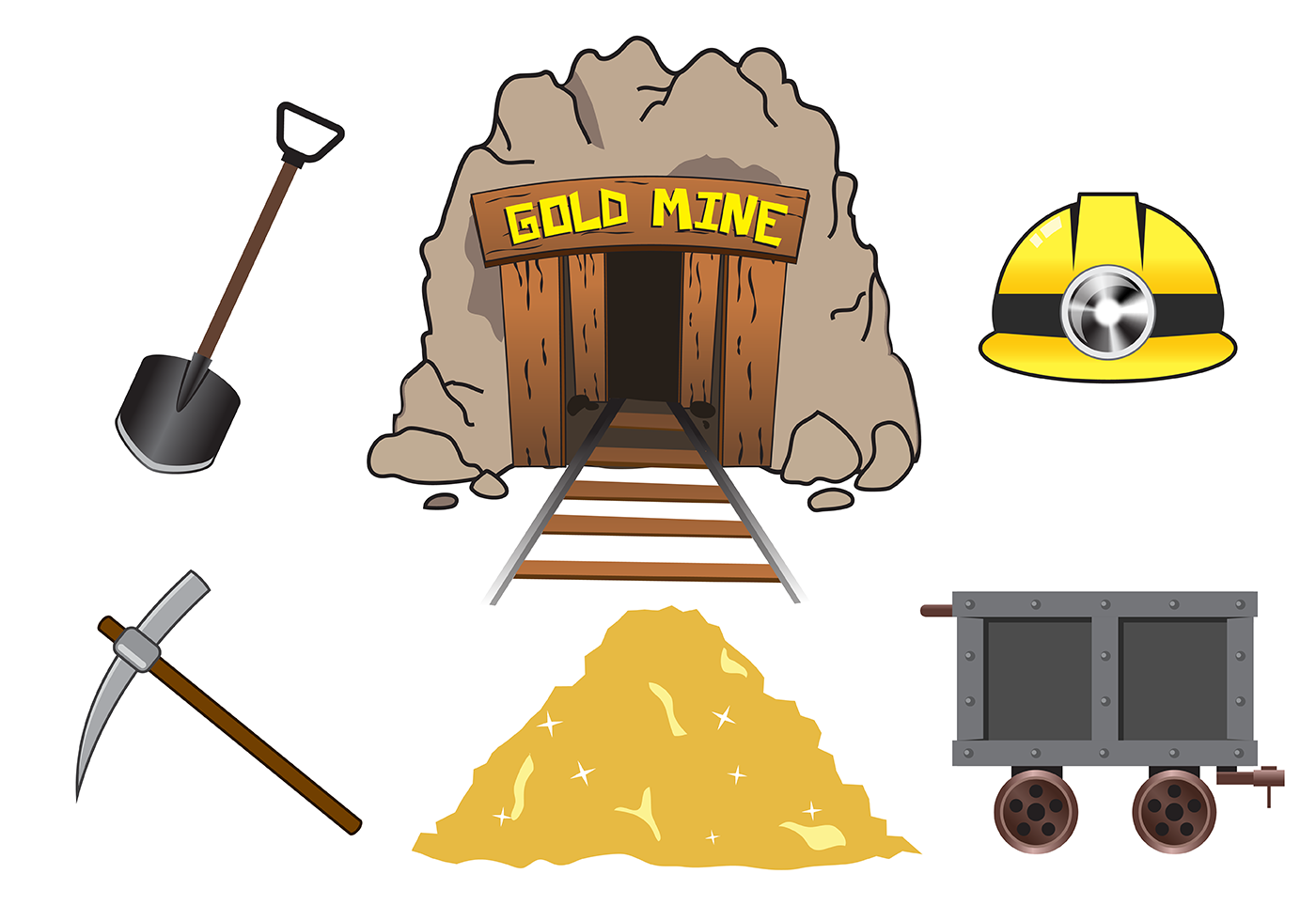 Gold Mining Free Vector Art.