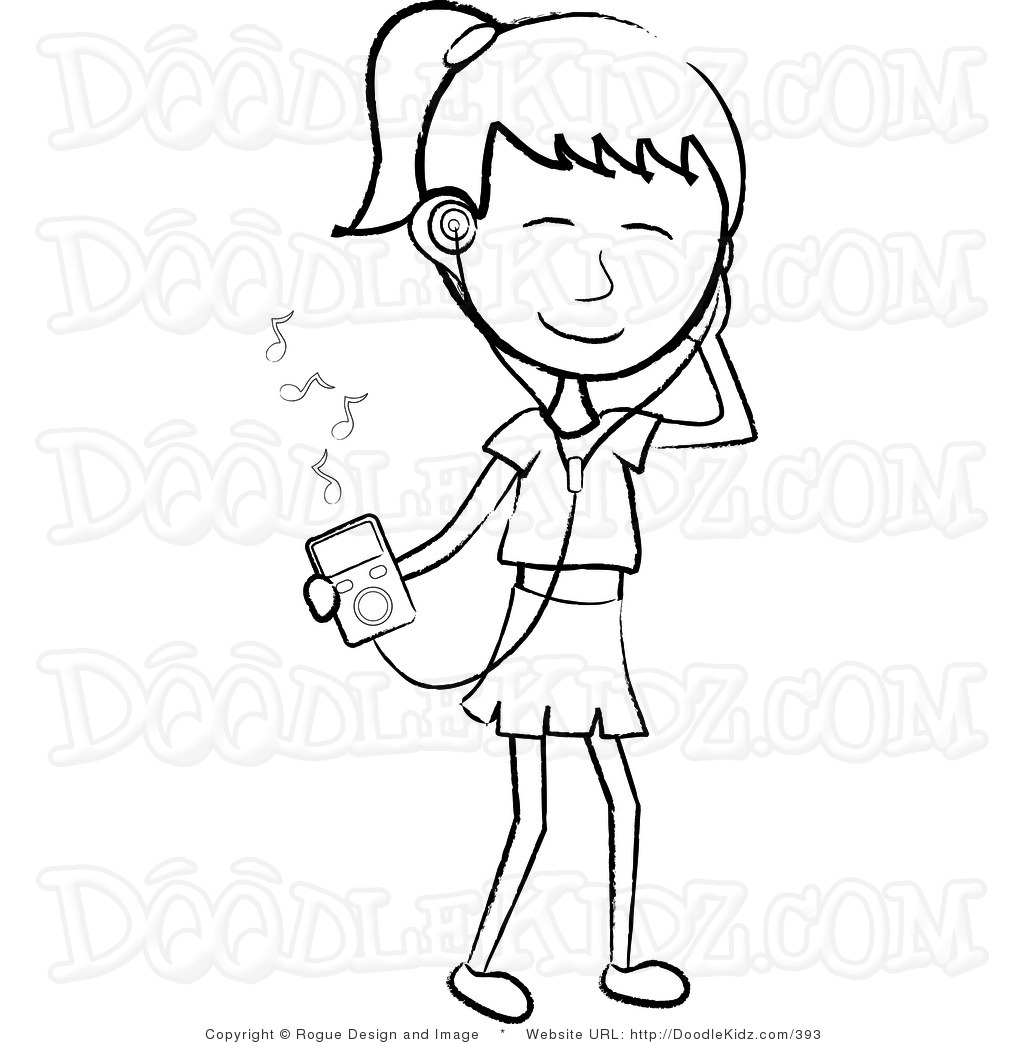 Girl Listening To Music Clipart Black And White.