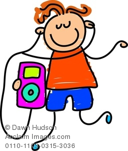 Kids Listening To Music Clipart.