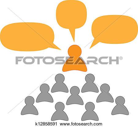 Clipart of speaker or teacher and listeners k12858591.
