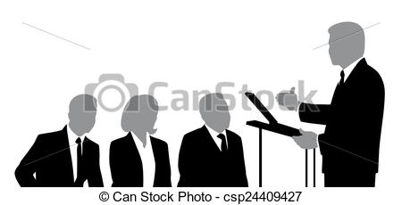 Clip Art of Speaker and Listeners.