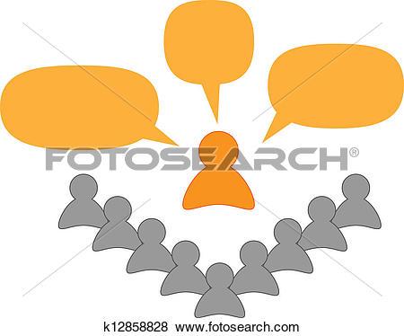 Clip Art of speaker or teacher and listeners k12858828.