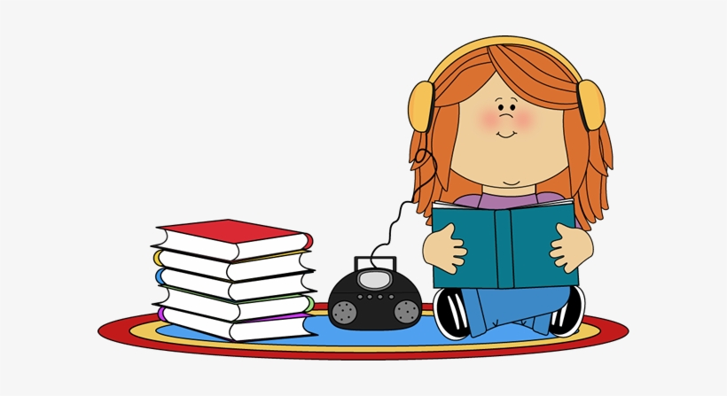 Girl Listening To Book On Cd Player Clip Art.