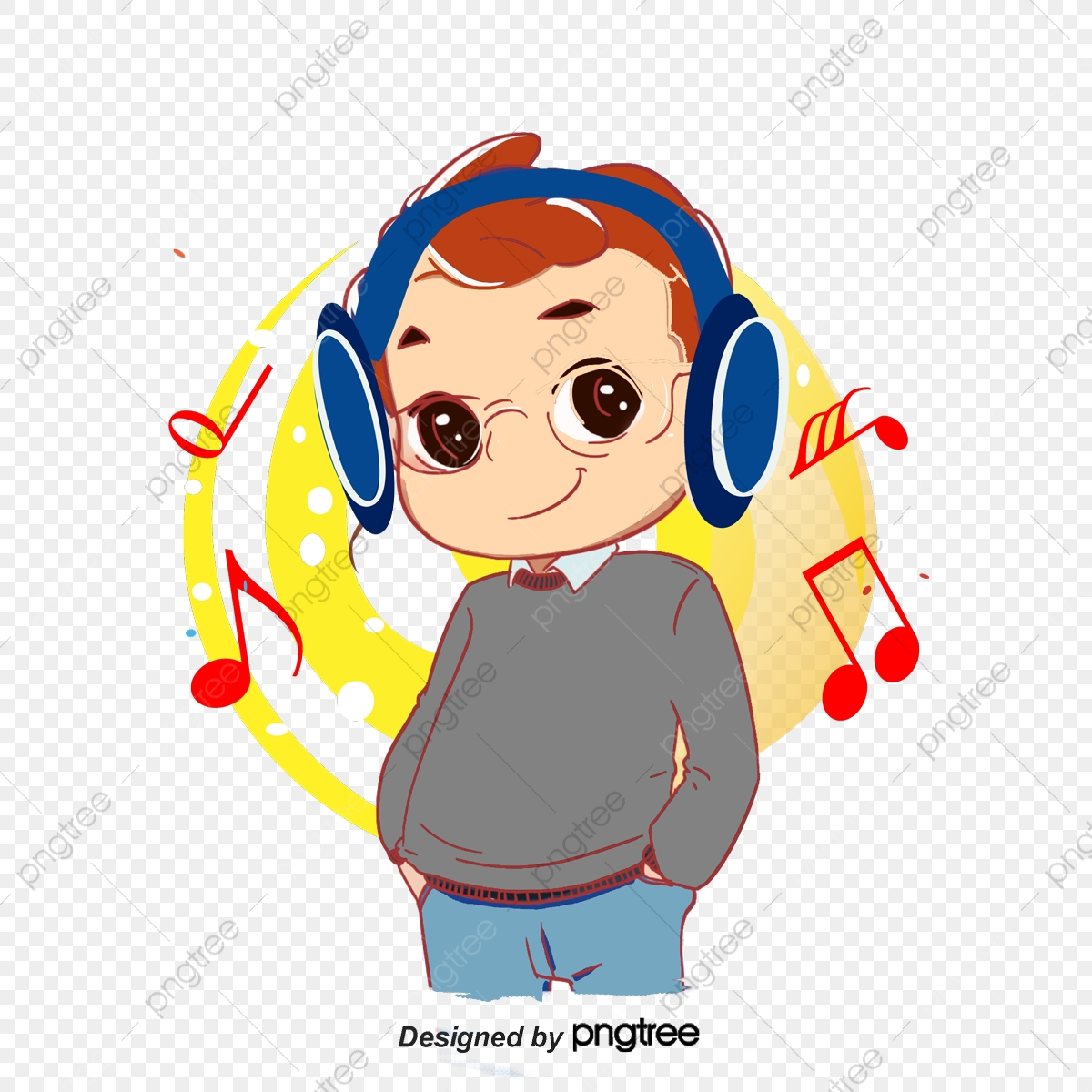 Vector Boy Listening To Music, Boy, Cartoon Boy, Character.
