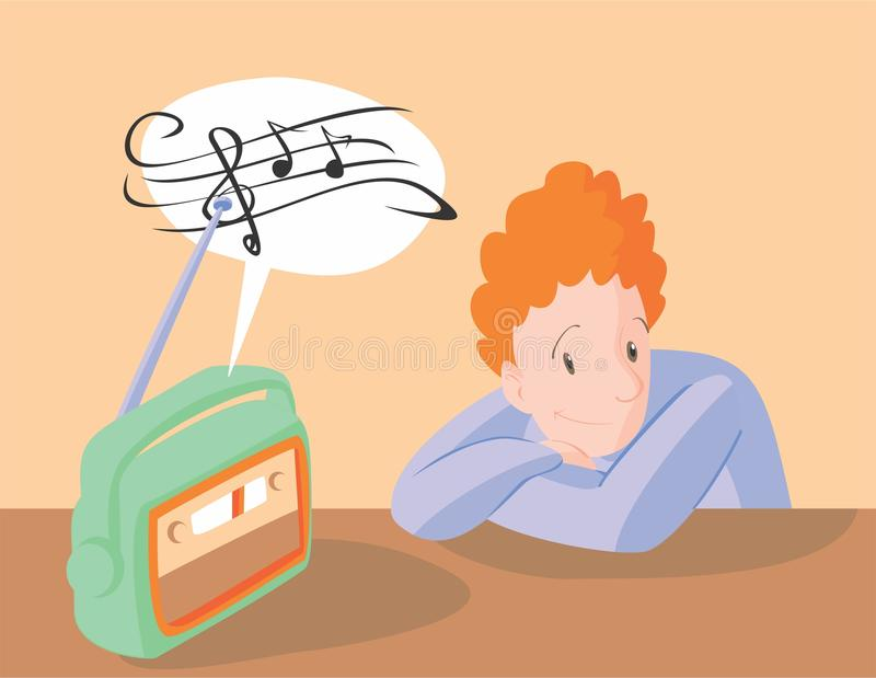 Listening To Radio Stock Illustrations.