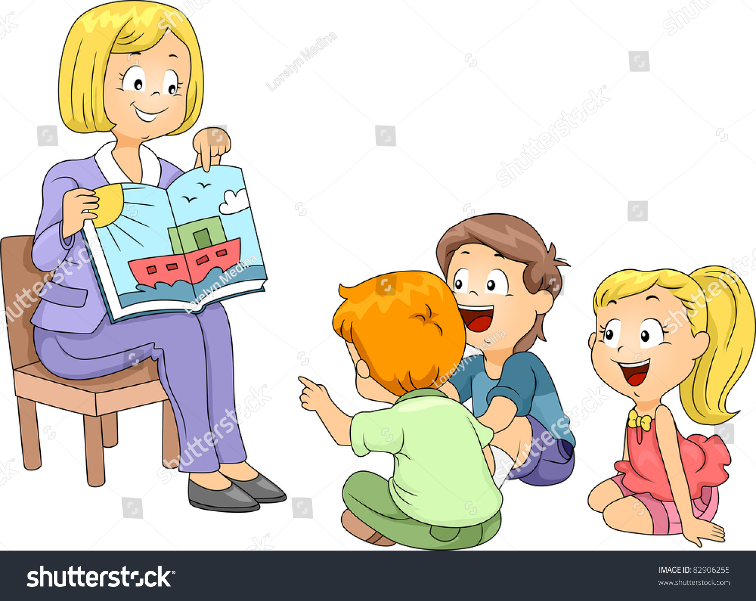 Children Listening To A Story Clipart.