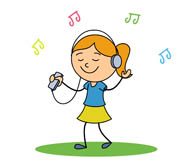 Girl Listening To Music Clipart.