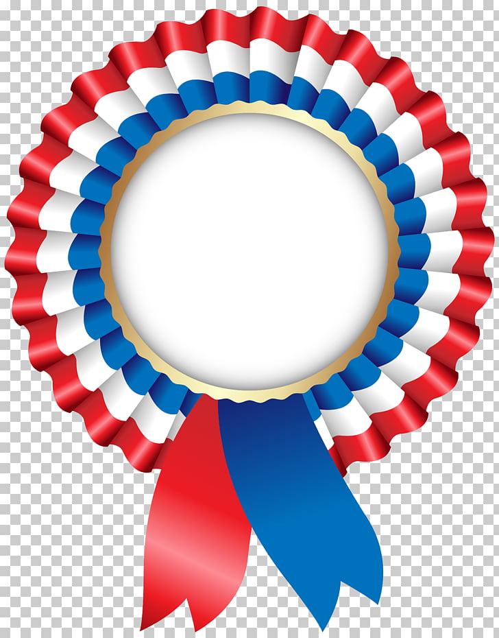 Medalla roja, blanca y azul, decoración de pared, rosetón.