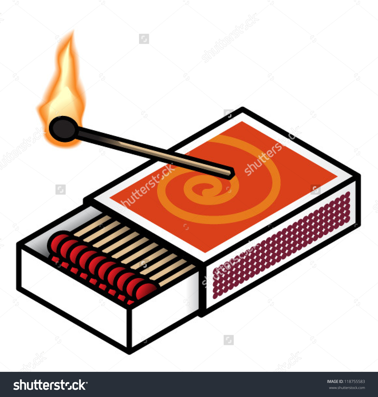 Lit Matches Clip Art.