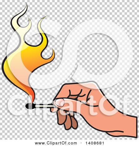 Clipart of a Hand Holding a Lit Match.